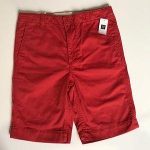 * GAP KIDS * Red Chino Shorts Boys 12 Reg NWT